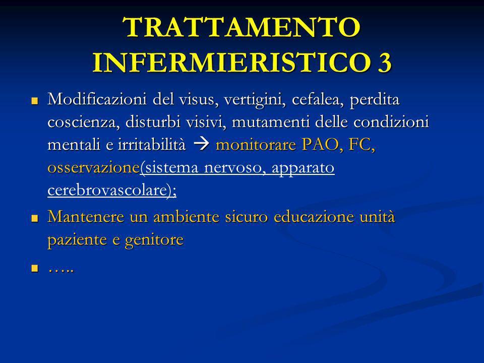 TRATTAMENTO INFERMIERISTICO 3 Modificazioni del visus, vertigini, cefalea, perdita coscienza, disturbi visivi, mutamenti delle condizioni mentali e ir