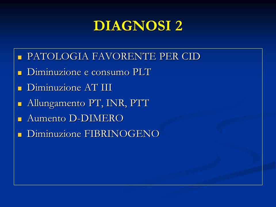 DIAGNOSI 2 PATOLOGIA FAVORENTE PER CID Diminuzione e consumo PLT Diminuzione AT III Allungamento PT, INR, PTT Aumento D-DIMERO Diminuzione FIBRINOGENO
