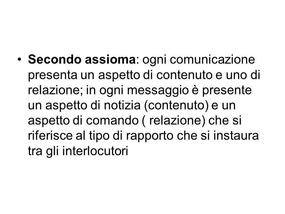 Secondo assioma: ogni comunicazione presenta un aspetto di contenuto e uno di relazione; in ogni messaggio è presente un aspetto di notizia (contenuto
