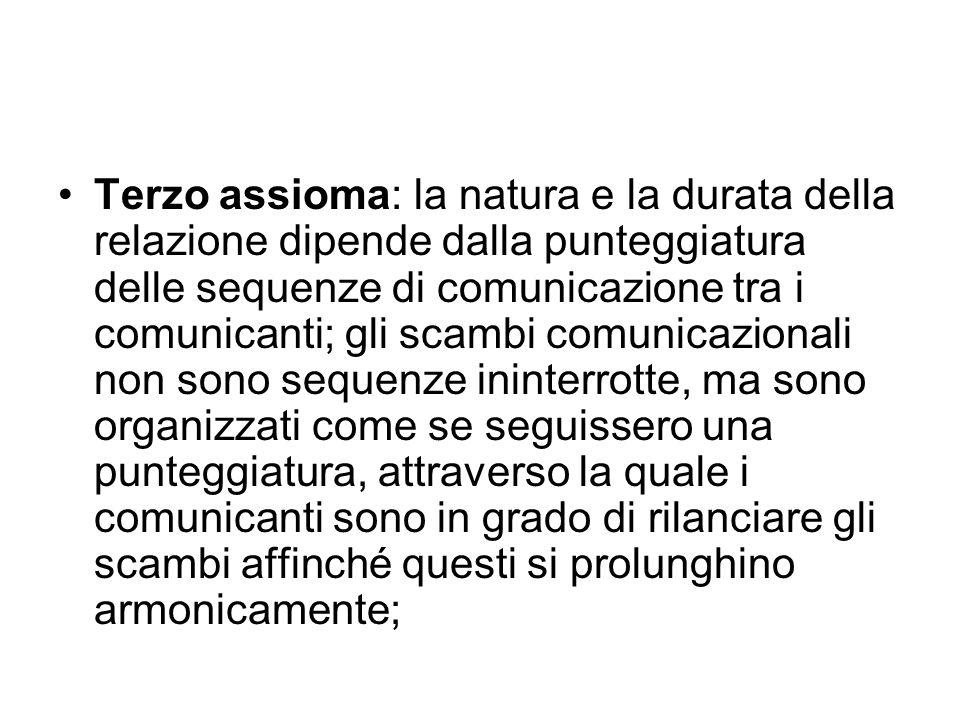 Terzo assioma: la natura e la durata della relazione dipende dalla punteggiatura delle sequenze di comunicazione tra i comunicanti; gli scambi comunic