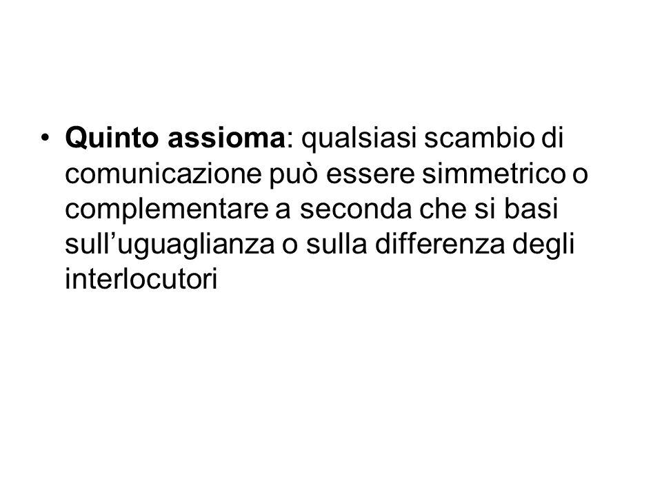 Quinto assioma: qualsiasi scambio di comunicazione può essere simmetrico o complementare a seconda che si basi sulluguaglianza o sulla differenza degl