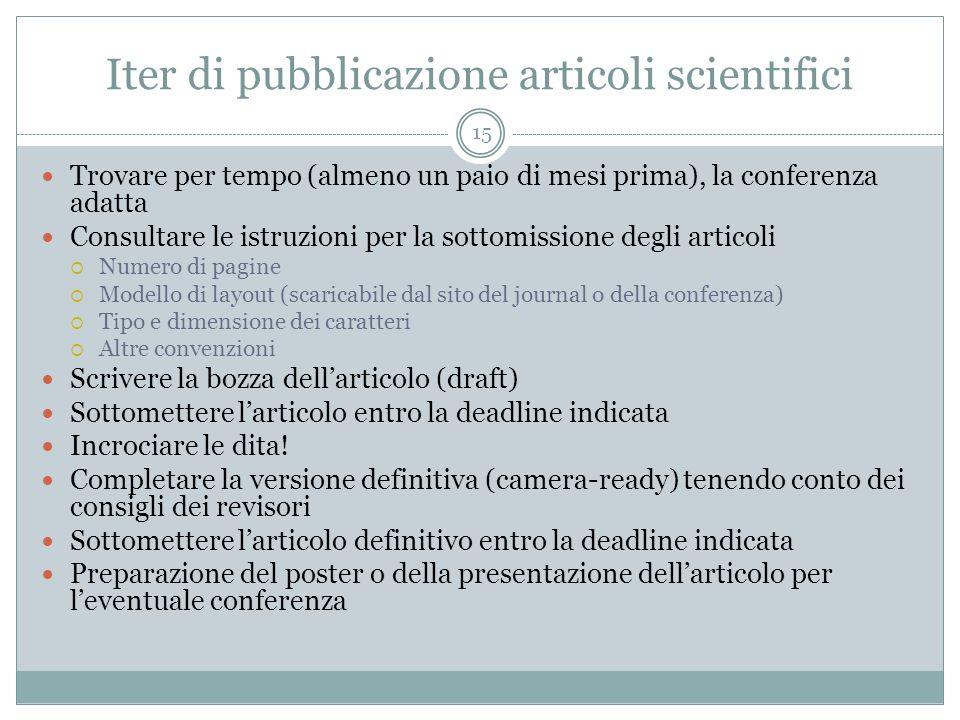 Iter di pubblicazione articoli scientifici 15 Trovare per tempo (almeno un paio di mesi prima), la conferenza adatta Consultare le istruzioni per la s