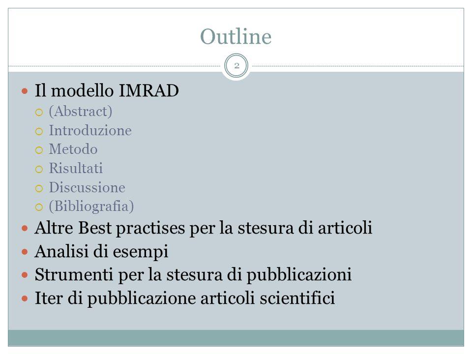 Outline Il modello IMRAD (Abstract) Introduzione Metodo Risultati Discussione (Bibliografia) Altre Best practises per la stesura di articoli Analisi d