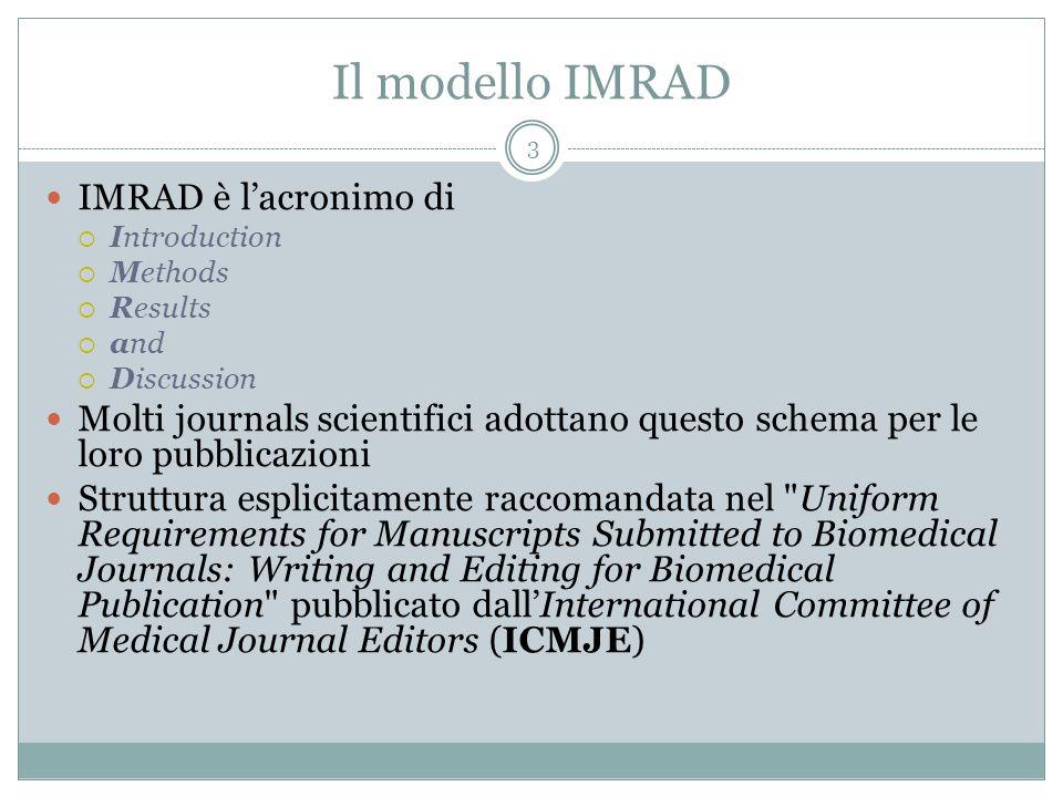 Il modello IMRAD IMRAD è lacronimo di Introduction Methods Results and Discussion Molti journals scientifici adottano questo schema per le loro pubbli
