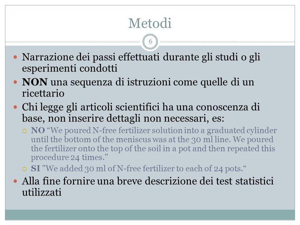 Metodi 6 Narrazione dei passi effettuati durante gli studi o gli esperimenti condotti NON una sequenza di istruzioni come quelle di un ricettario Chi