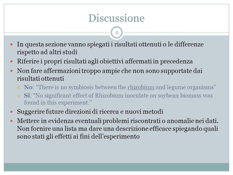 Discussione 9 In questa sezione vanno spiegati i risultati ottenuti o le differenze rispetto ad altri studi Riferire i propri risultati agli obiettivi