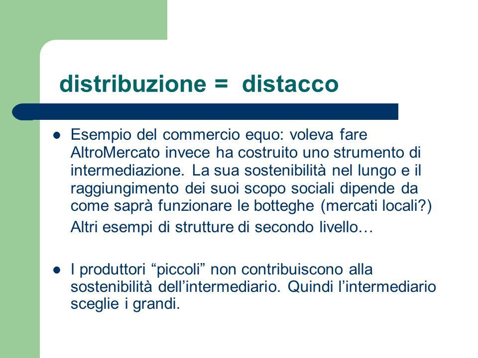 distribuzione = distacco Esempio del commercio equo: voleva fare AltroMercato invece ha costruito uno strumento di intermediazione.