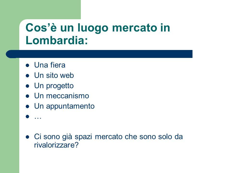 Cosè un luogo mercato in Lombardia: Una fiera Un sito web Un progetto Un meccanismo Un appuntamento … Ci sono già spazi mercato che sono solo da rivalorizzare