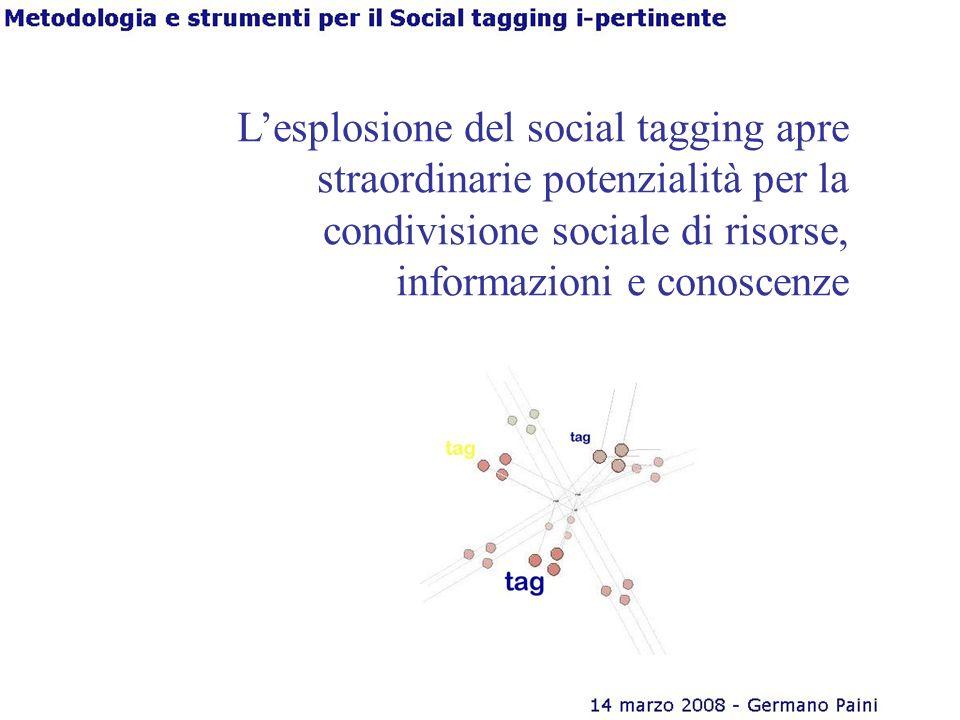 Lesplosione del social tagging apre straordinarie potenzialità per la condivisione sociale di risorse, informazioni e conoscenze