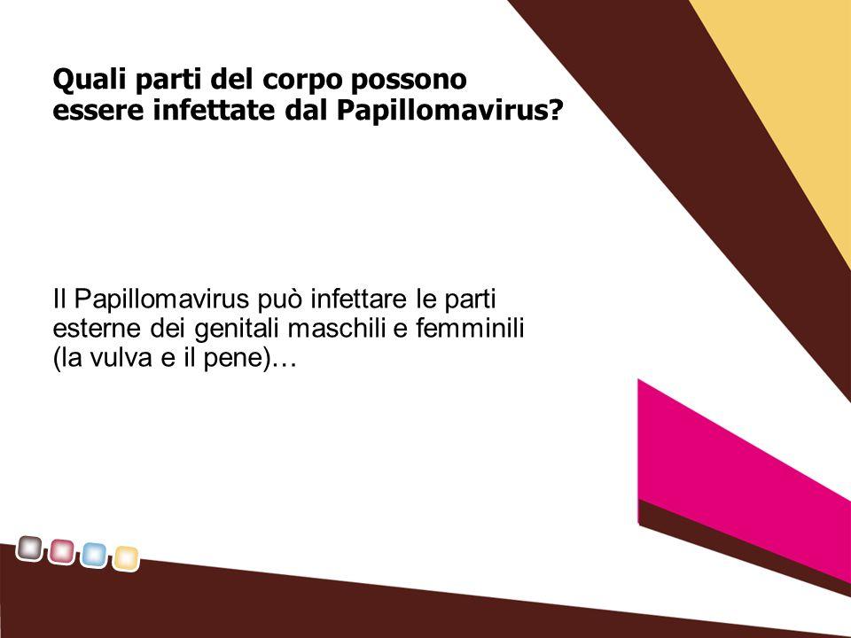 Quali parti del corpo possono essere infettate dal Papillomavirus.