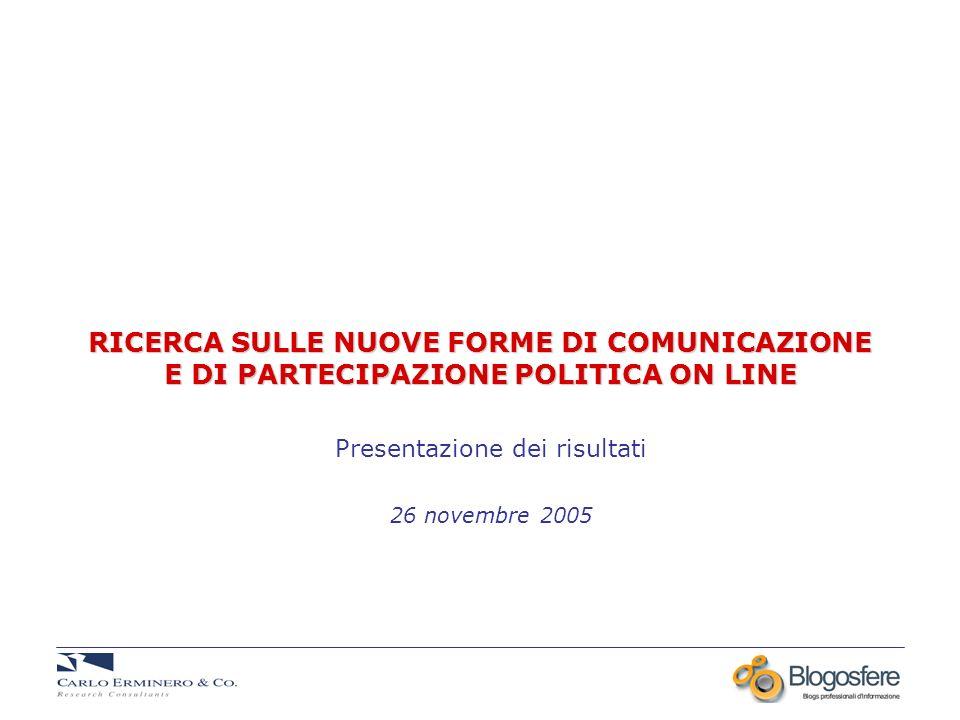 RICERCA SULLE NUOVE FORME DI COMUNICAZIONE E DI PARTECIPAZIONE POLITICA ON LINE Presentazione dei risultati 26 novembre 2005