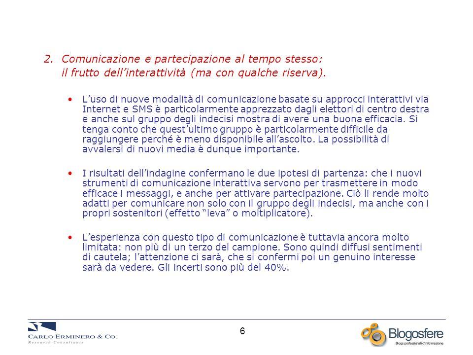 6 2. Comunicazione e partecipazione al tempo stesso: il frutto dellinterattività (ma con qualche riserva). Luso di nuove modalità di comunicazione bas