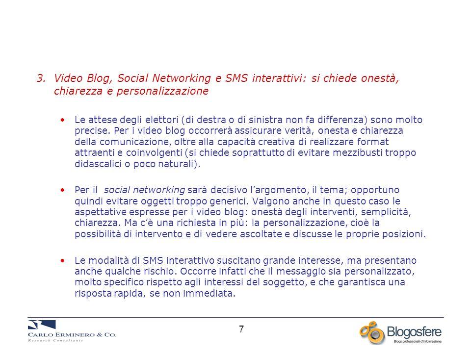 7 3. Video Blog, Social Networking e SMS interattivi: si chiede onestà, chiarezza e personalizzazione Le attese degli elettori (di destra o di sinistr