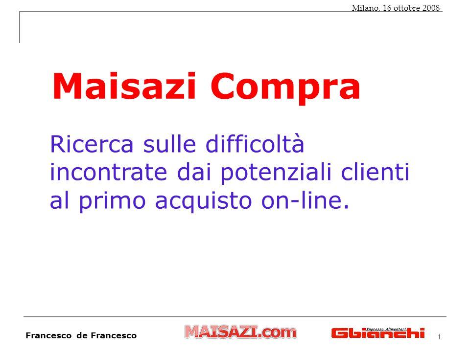 1 Francesco de Francesco Milano, 16 ottobre 2008 Maisazi Compra Ricerca sulle difficoltà incontrate dai potenziali clienti al primo acquisto on-line.