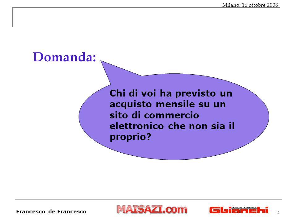 2 Domanda: Milano, 16 ottobre 2008 Francesco de Francesco Chi di voi ha previsto un acquisto mensile su un sito di commercio elettronico che non sia il proprio?