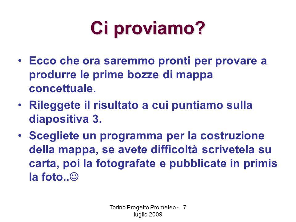 Torino Progetto Prometeo - 7 luglio 2009 Ci proviamo.