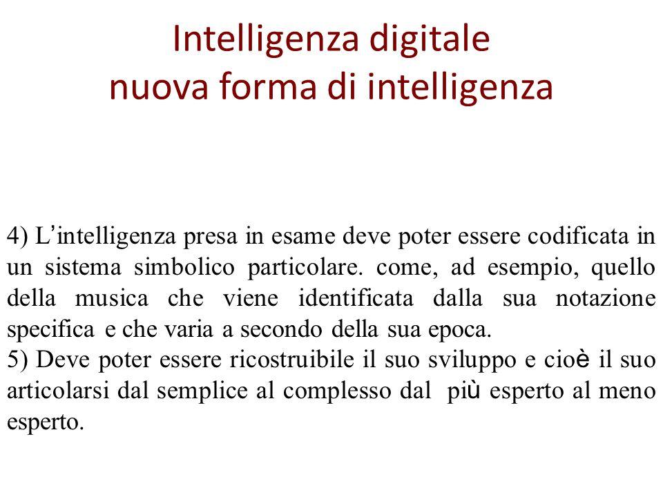Intelligenza digitale nuova forma di intelligenza 4) L intelligenza presa in esame deve poter essere codificata in un sistema simbolico particolare.