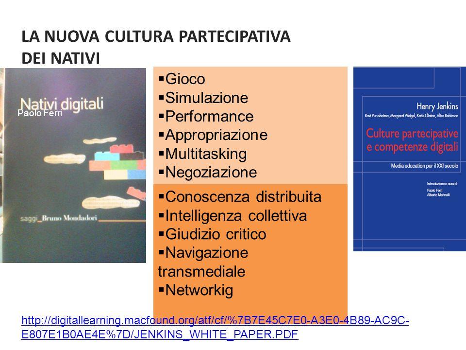 LA NUOVA CULTURA PARTECIPATIVA DEI NATIVI Gioco Simulazione Performance Appropriazione Multitasking Negoziazione Conoscenza distribuita Intelligenza collettiva Giudizio critico Navigazione transmediale Networkig http://digitallearning.macfound.org/atf/cf/%7B7E45C7E0-A3E0-4B89-AC9C- E807E1B0AE4E%7D/JENKINS_WHITE_PAPER.PDF Paolo Ferri