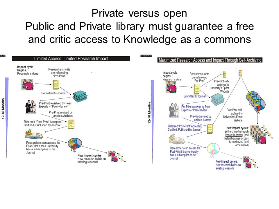 Private versus open Public and Private library must guarantee a free and critic access to Knowledge as a commons