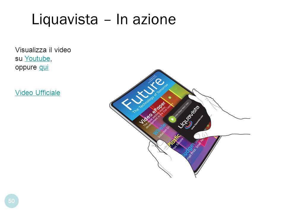 Permette la ricerca testuale 50 Liquavista – In azione Visualizza il video su Youtube, oppure quiYoutubequi Video Ufficiale