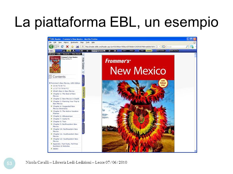 La piattaforma EBL, un esempio Nicola Cavalli – Libreria Ledi-Ledizioni – Lecce 07/06/2010 53