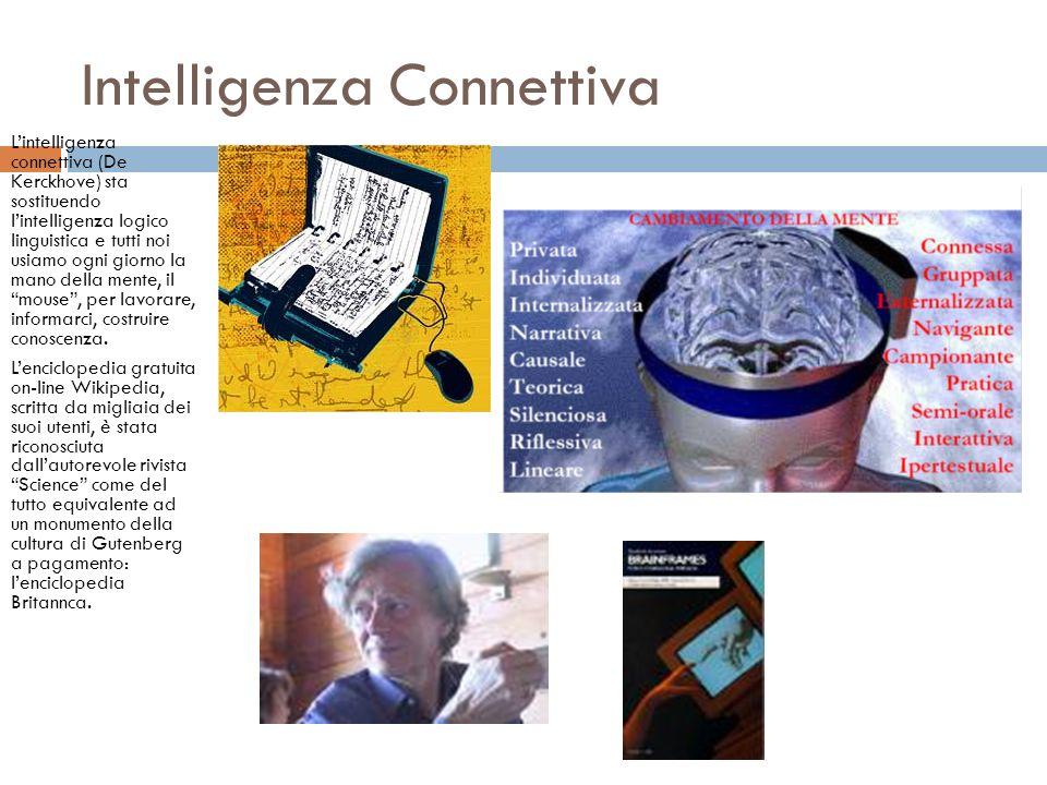Intelligenza Connettiva Lintelligenza connettiva (De Kerckhove) sta sostituendo lintelligenza logico linguistica e tutti noi usiamo ogni giorno la mano della mente, il mouse, per lavorare, informarci, costruire conoscenza.