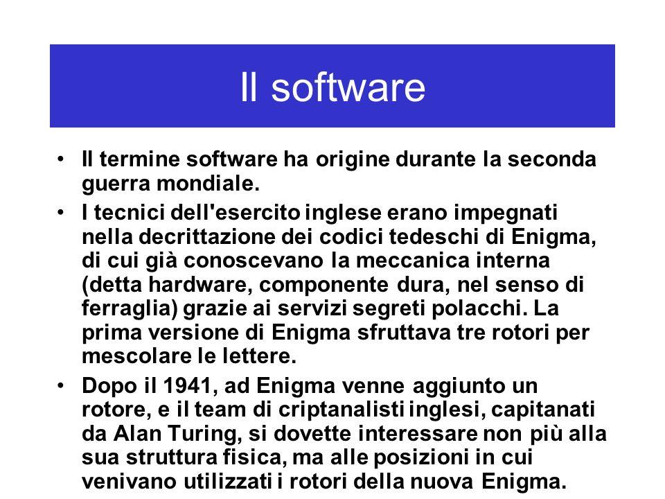 Il software Il termine software ha origine durante la seconda guerra mondiale. I tecnici dell'esercito inglese erano impegnati nella decrittazione dei