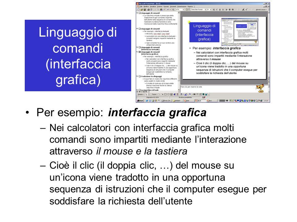 Per esempio: interfaccia grafica –Nei calcolatori con interfaccia grafica molti comandi sono impartiti mediante linterazione attraverso il mouse e la