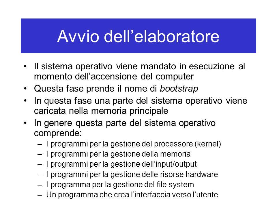 Avvio dellelaboratore Il sistema operativo viene mandato in esecuzione al momento dellaccensione del computer Questa fase prende il nome di bootstrap