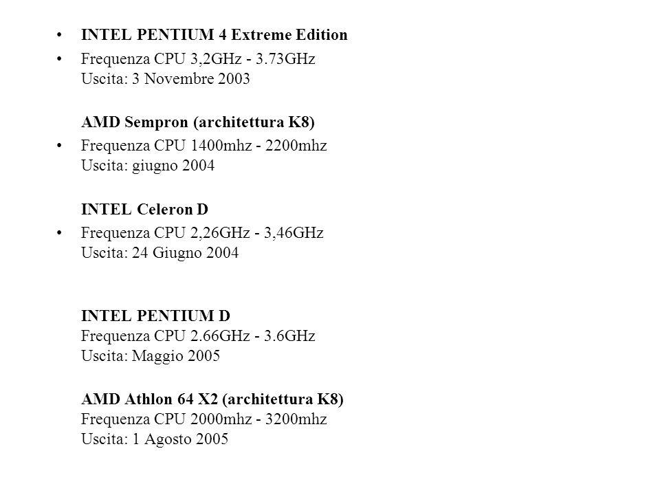 INTEL PENTIUM 4 Extreme Edition Frequenza CPU 3,2GHz - 3.73GHz Uscita: 3 Novembre 2003 AMD Sempron (architettura K8) Frequenza CPU 1400mhz - 2200mhz U