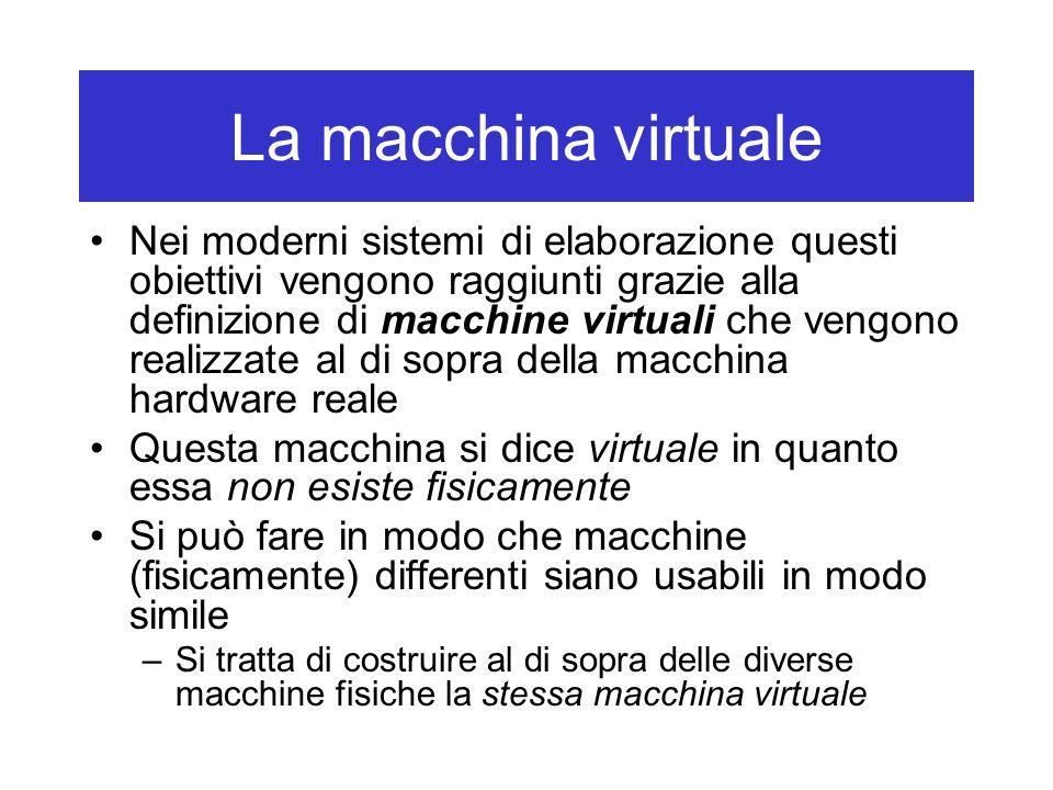 La macchina virtuale La macchina virtuale viene realizzata mediante il software (software di base) Lutente interagisce con la macchina virtuale grazie ad un opportuno linguaggio di comandi Ogni computer ha un linguaggio macchina le cui istruzioni sono direttamente eseguibili dalla macchina hardware