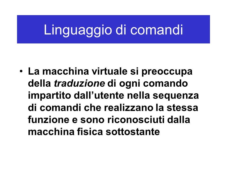 Linguaggio di comandi La macchina virtuale si preoccupa della traduzione di ogni comando impartito dallutente nella sequenza di comandi che realizzano