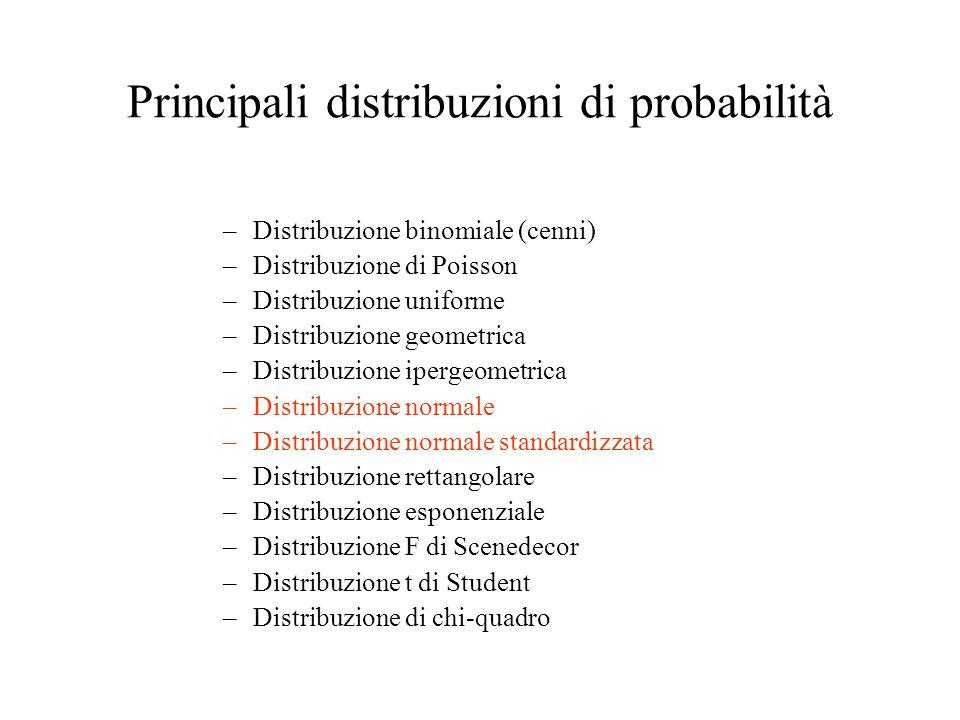 Principali distribuzioni di probabilità –Distribuzione binomiale (cenni) –Distribuzione di Poisson –Distribuzione uniforme –Distribuzione geometrica –