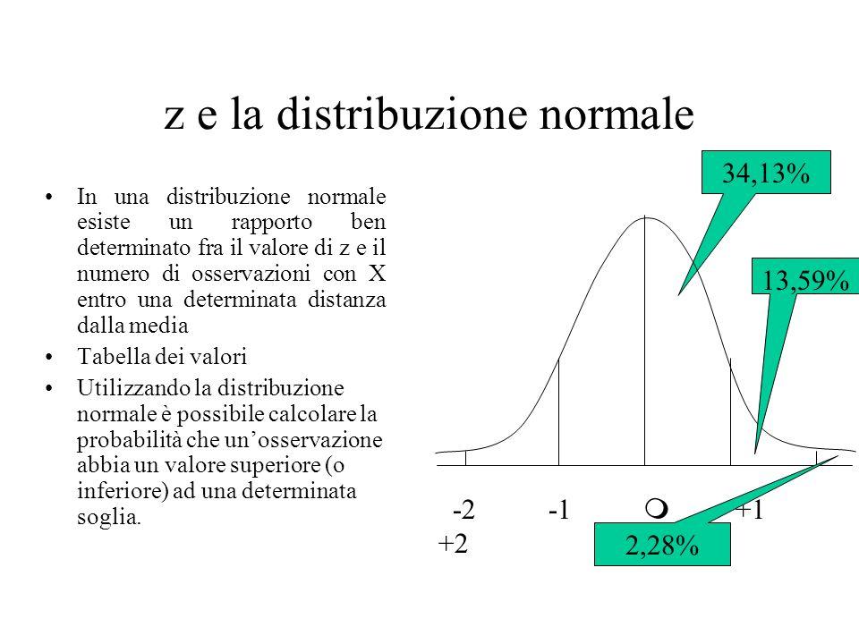 z e la distribuzione normale In una distribuzione normale esiste un rapporto ben determinato fra il valore di z e il numero di osservazioni con X entr