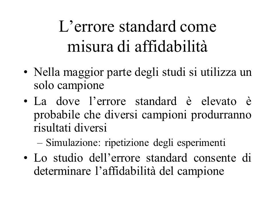 Lerrore standard come misura di affidabilità Nella maggior parte degli studi si utilizza un solo campione La dove lerrore standard è elevato è probabi