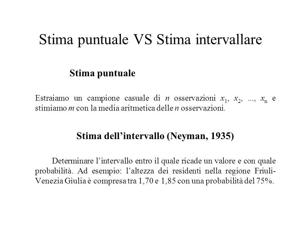 Stima puntuale VS Stima intervallare Stima puntuale Estraiamo un campione casuale di n osservazioni x 1, x 2,..., x n e stimiamo m con la media aritme