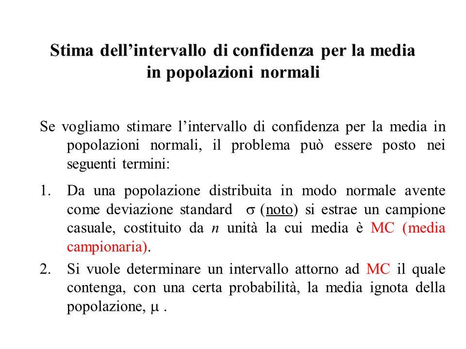 Se vogliamo stimare lintervallo di confidenza per la media in popolazioni normali, il problema può essere posto nei seguenti termini: 1.Da una popolaz