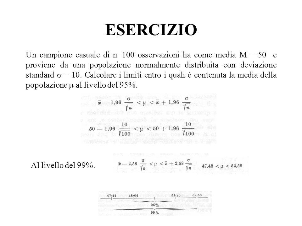 ESERCIZIO Un campione casuale di n=100 osservazioni ha come media M = 50 e proviene da una popolazione normalmente distribuita con deviazione standard