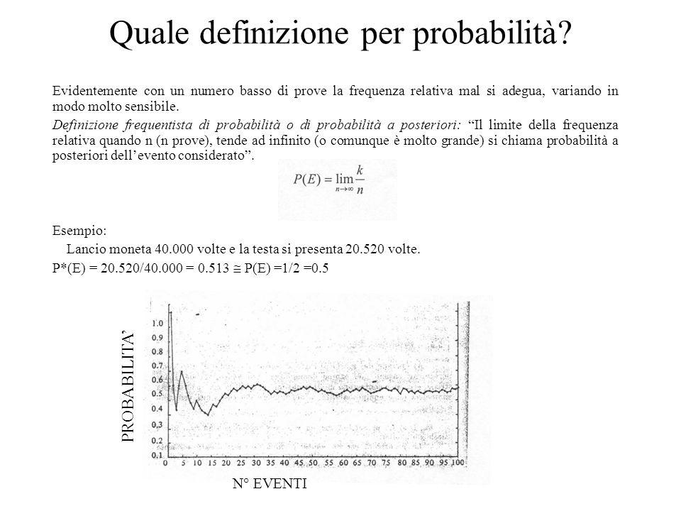 1.Definizione classica (Bernoulli, 1713): la probabilità, P(E), di un evento E è il rapporto tra il numero di casi favorevoli (al manifestarsi di E) e il numero di casi possibili, giudicati ugualmente possibili.