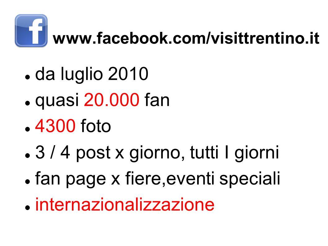www.facebook.com/visittrentino.it da luglio 2010 quasi 20.000 fan 4300 foto 3 / 4 post x giorno, tutti I giorni fan page x fiere,eventi speciali inter