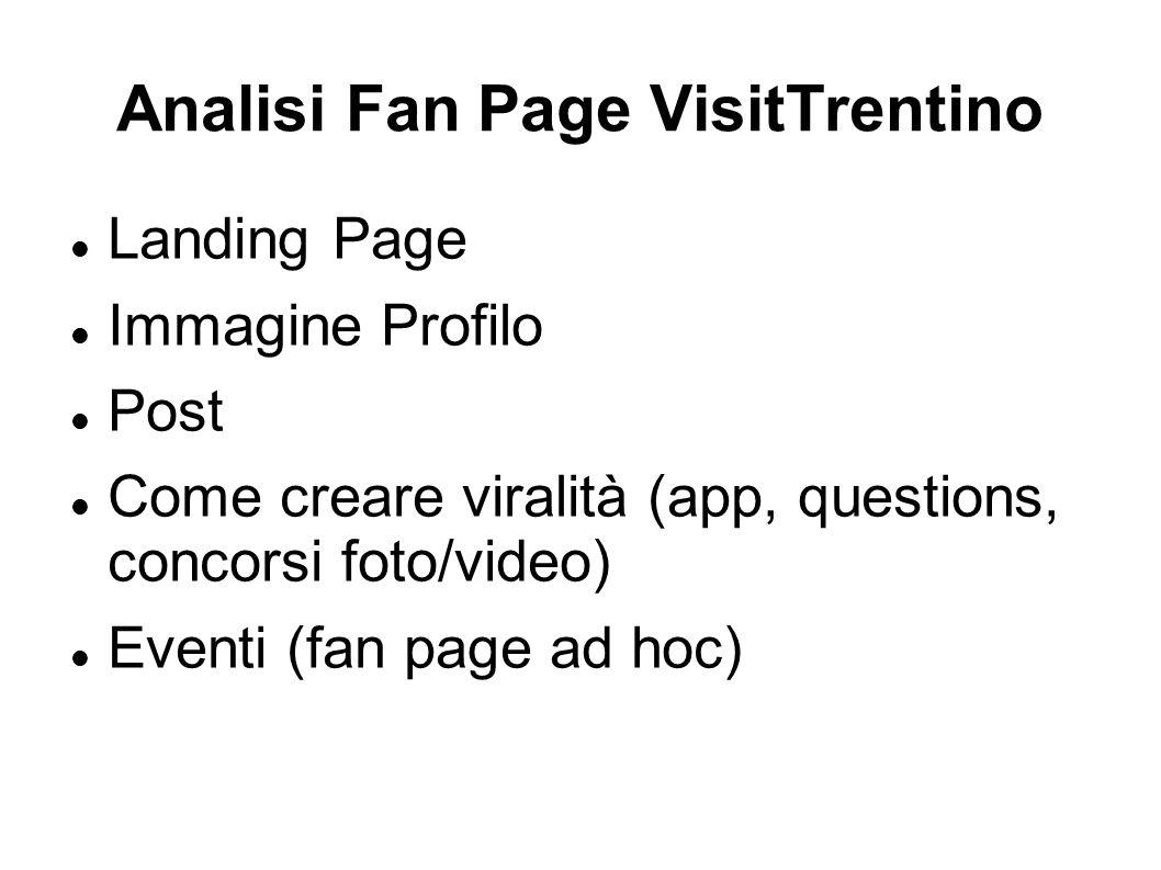 Analisi Fan Page VisitTrentino Landing Page Immagine Profilo Post Come creare viralità (app, questions, concorsi foto/video) Eventi (fan page ad hoc)