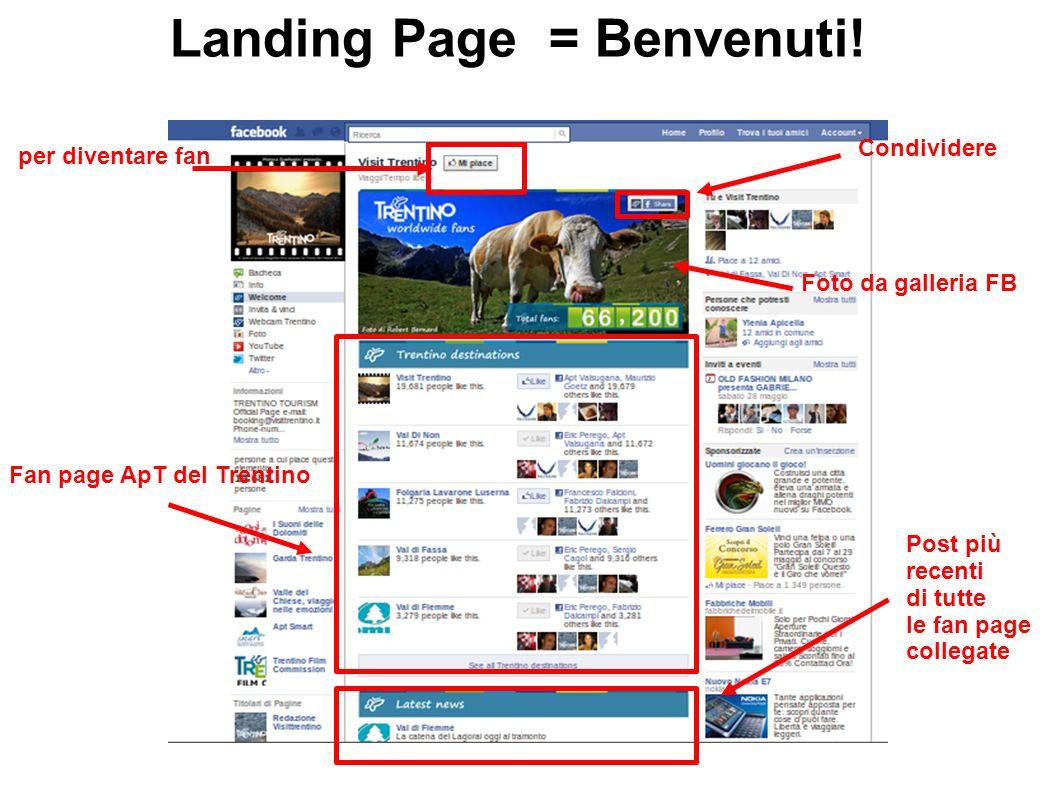 Landing Page = Benvenuti! per diventare fan Foto da galleria FB Condividere Fan page ApT del Trentino Post più recenti di tutte le fan page collegate