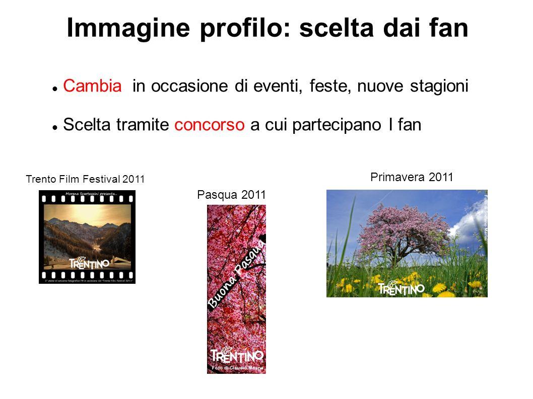 Immagine profilo: scelta dai fan Cambia in occasione di eventi, feste, nuove stagioni Scelta tramite concorso a cui partecipano I fan Trento Film Festival 2011 Pasqua 2011 Primavera 2011