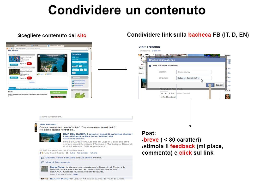 Condividere un contenuto Scegliere contenuto dal sito Condividere link sulla bacheca FB (IT, D, EN) Post: breve ( < 80 caratteri) stimola il feedback (mi piace, commento) e click sul link