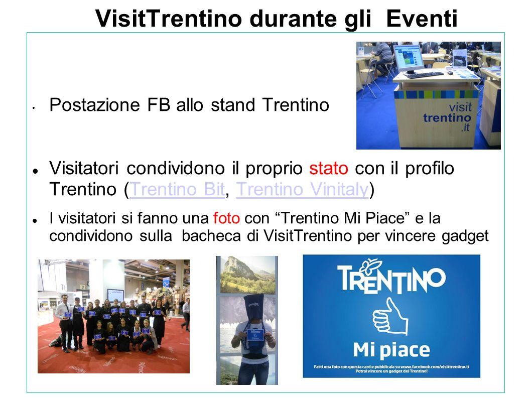 VisitTrentino durante gli Eventi Postazione FB allo stand Trentino Visitatori condividono il proprio stato con iI profilo Trentino (Trentino Bit, Tren