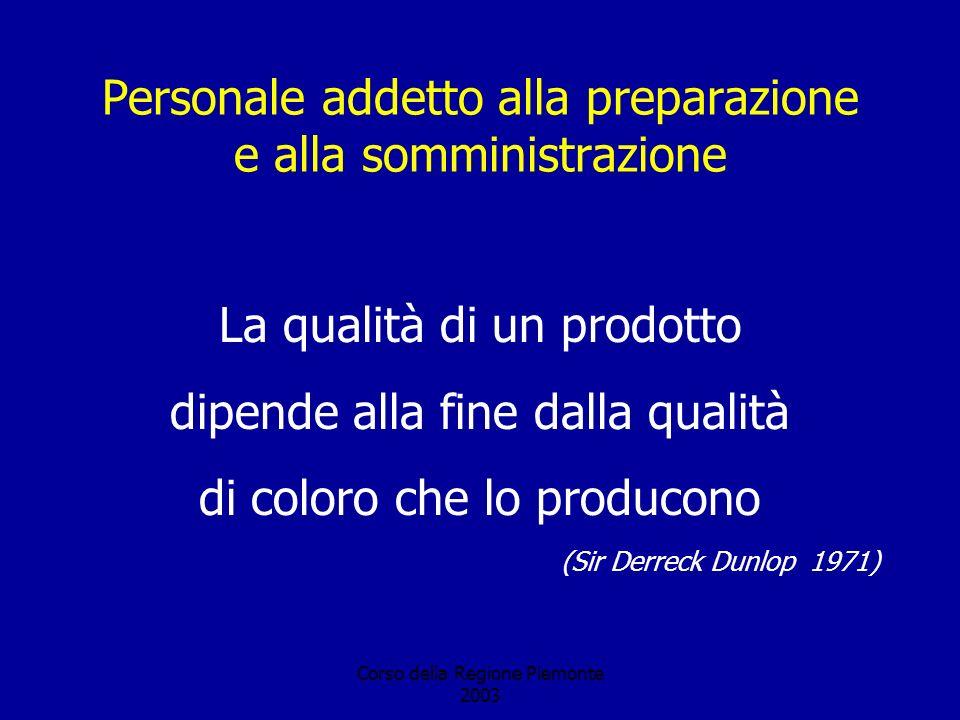 Corso della Regione Piemonte 2003 Personale addetto alla preparazione e alla somministrazione La qualità di un prodotto dipende alla fine dalla qualità di coloro che lo producono (Sir Derreck Dunlop 1971)