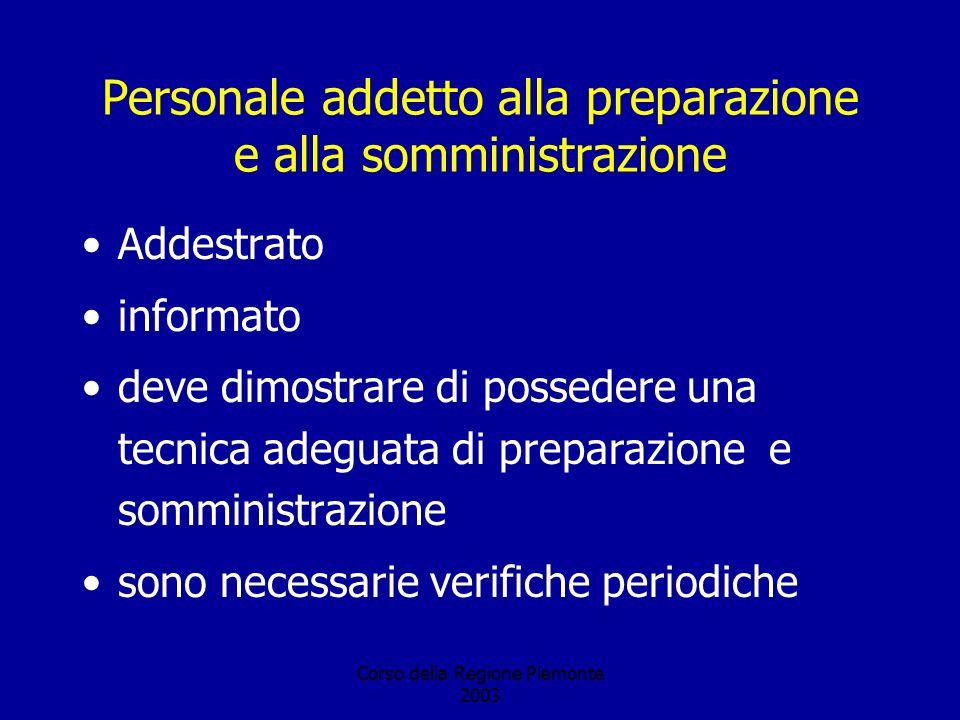 Corso della Regione Piemonte 2003 Personale addetto alla preparazione e alla somministrazione Addestrato informato deve dimostrare di possedere una tecnica adeguata di preparazione e somministrazione sono necessarie verifiche periodiche