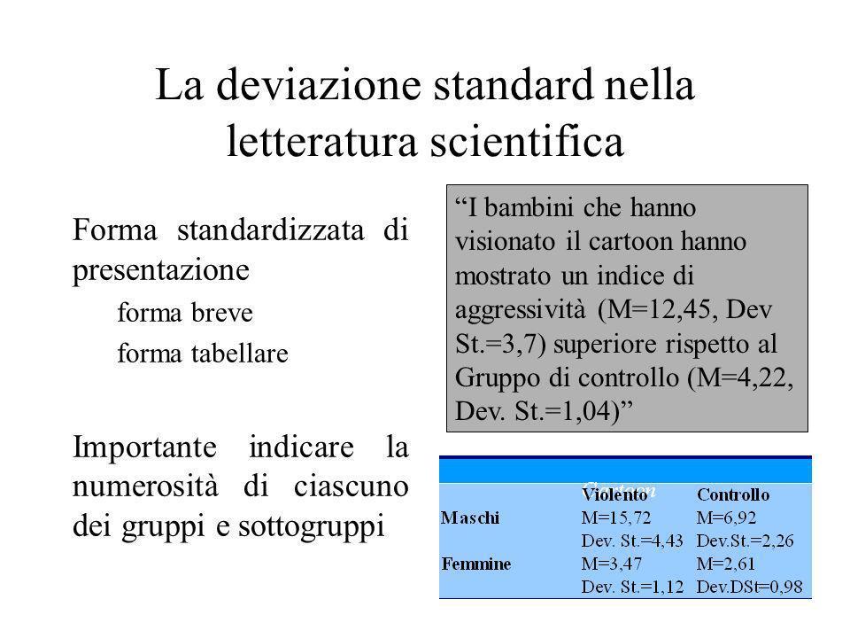La deviazione standard nella letteratura scientifica Forma standardizzata di presentazione forma breve forma tabellare Importante indicare la numerosi