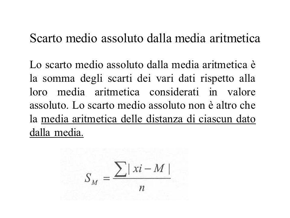 Scarto medio assoluto dalla media aritmetica Lo scarto medio assoluto dalla media aritmetica è la somma degli scarti dei vari dati rispetto alla loro