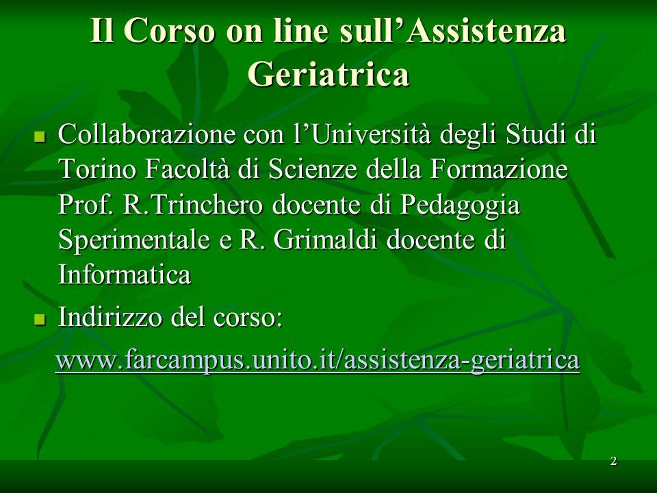 Il Corso on line sullAssistenza Geriatrica Collaborazione con lUniversità degli Studi di Torino Facoltà di Scienze della Formazione Prof.